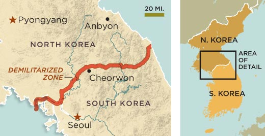Map of the DMZ (image credit smithsonianmag.com)