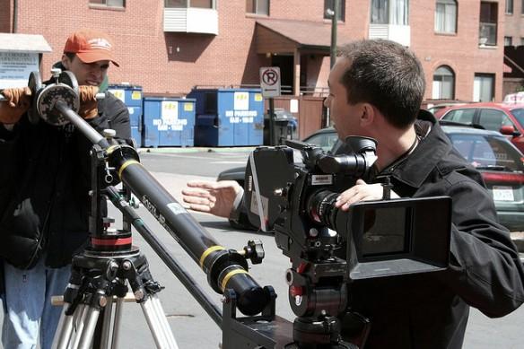Jib camera operator at work