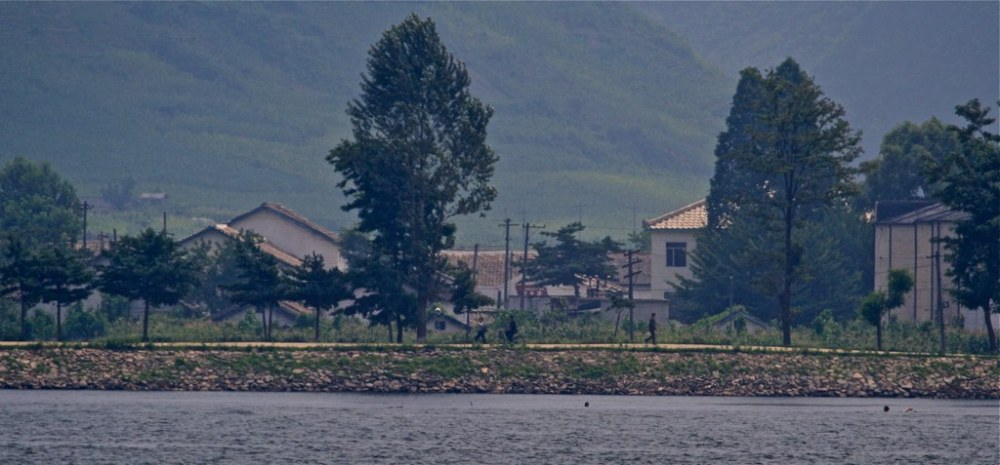 View of North Korea from across the river in China