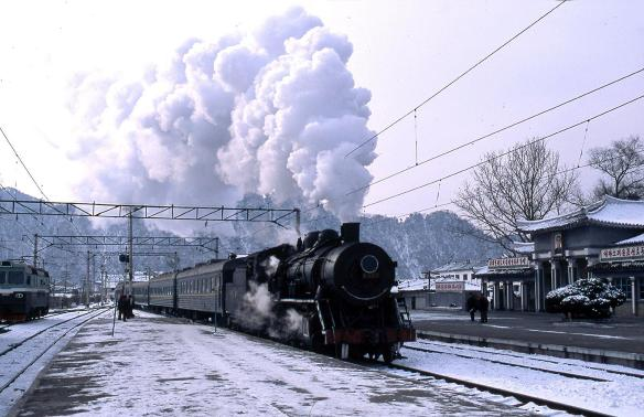 A train arrives at Hyangshan station, DPRK on January 23, 2009. Image credit Frühtau via Flickr.