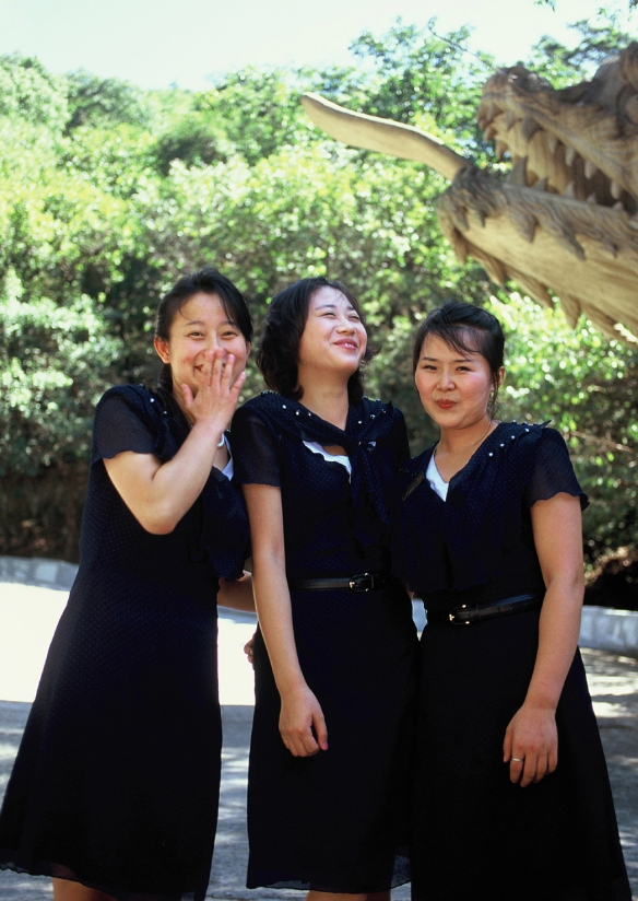Laughing and happy girls, just like anywhere else in the world. After a barbecue in the Ryongaksan Pleasure Park near the capital. These girls appeared very gifted with an accordion and also sang traditional Korean songs.