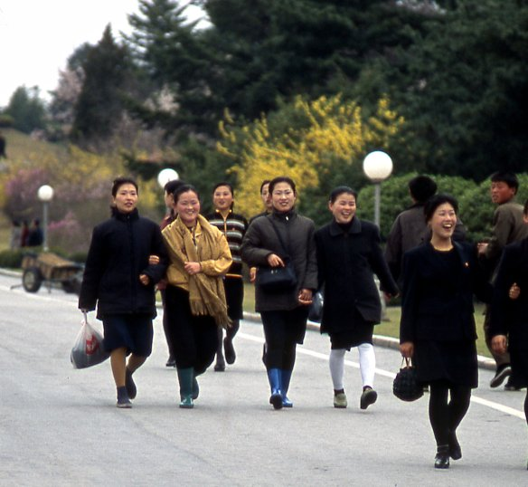 These women in a good mood were on the way to work in the city of Kaesong.