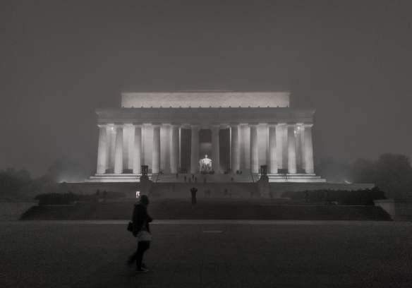 The Lincoln Memorial on a foggy evening on January 12, 2013. Photo credit Ehpien via Flickr.
