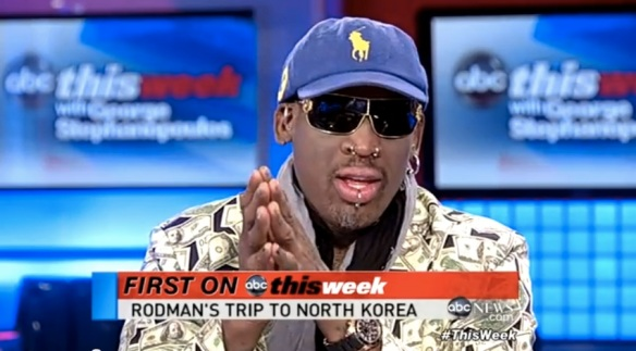 A screenshot of Dennis Rodman on the air with ABC News (photo credit ABC News).