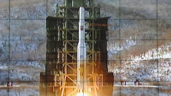 A screen shows a rocket being launched from a launch pad at the West Sea Satellite Launch Site, at North Korea's satellite control centre in Cholsan county, North Pyongan province